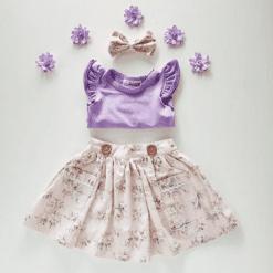 Dusty pink floral girls skirt australia