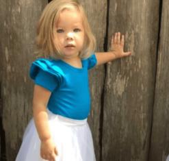 Ocean Blue Short Sleeve Flutter Bodysuit / Onesie