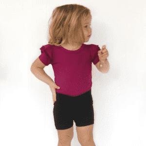 Berry Short Sleeve Flutter Sleeve Bodysuit / Onesie