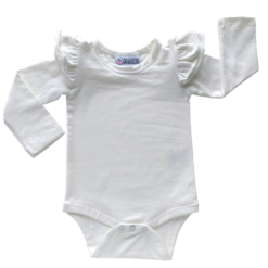 This Cream Flutter Bodysuit / Onesie pairs wonderfully with our Skirts and Pinnys.The always popular long sleeve style is perfect for our Australian climate, protecting your little one's from the sun.  We've chosen a perfect blend of 95% cotton and 5% elastane because of it's durability, comfort and quality feel.