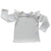 This Cream Long Sleeve Flutter Top pairs wonderfully with our Skirts and Pinnys.The always popular long sleeve style is perfect for our Australian climate, protecting your little one's from the sun.  We've chosen a perfect blend of 95% cotton and 5% elastane because of it's durability, comfort and quality feel.