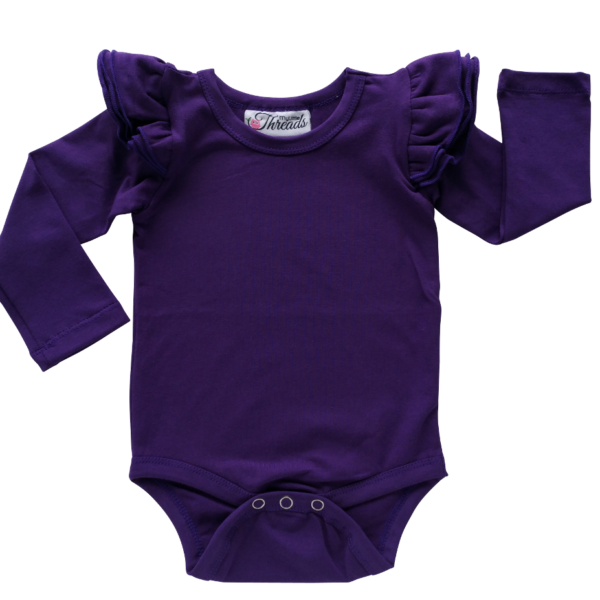 This Dark Purple Flutter Bodysuit / Onesie pairs wonderfully with our Skirts and Pinnys.The always popular long sleeve style is perfect for our Australian climate, protecting your little one's from the sun. We've chosen a perfect blend of 95% cotton and 5% elastane because of it's durability, comfort and quality feel.