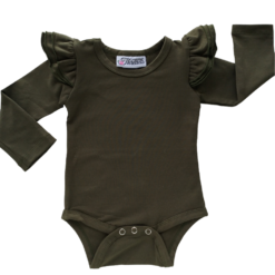 This Army Green Flutter Bodysuit / Onesie pairs wonderfully with our Skirts and Pinnys.The always popular long sleeve style is perfect for our Australian climate, protecting your little one's from the sun.  We've chosen a perfect blend of 95% cotton and 5% elastane because of it's durability, comfort and quality feel.