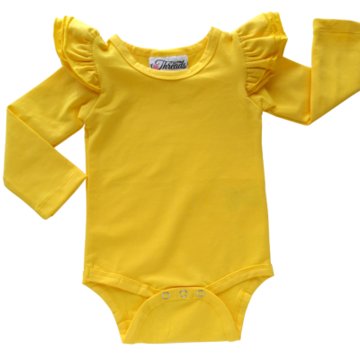This Dark Yellow Flutter Bodysuit / Onesie pairs wonderfully with our Skirts and Pinnys.The always popular long sleeve style is perfect for our Australian climate, protecting your little one's from the sun. We've chosen a perfect blend of 95% cotton and 5% elastane because of it's durability, comfort and quality feel.
