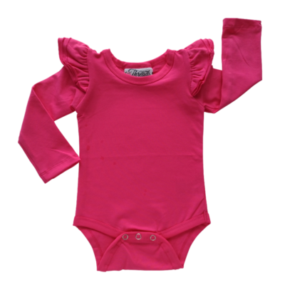 This Dark Pink Flutter Bodysuit / Onesie pairs wonderfully with our Skirts and Pinnys.The always popular long sleeve style is perfect for our Australian climate, protecting your little one's from the sun. We've chosen a perfect blend of 95% cotton and 5% elastane because of it's durability, comfort and quality feel.