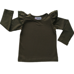This Army Green Long Sleeve Flutter Top pairs wonderfully with our Skirts and Pinnys.The always popular long sleeve style is perfect for our Australian climate, protecting your little one's from the sun.  We've chosen a perfect blend of 95% cotton and 5% elastane because of it's durability, comfort and quality feel.