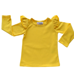 This Dark Yellow Long Sleeve Flutter Top pairs wonderfully with our Skirts and Pinnys.The always popular long sleeve style is perfect for our Australian climate, protecting your little one's from the sun.  We've chosen a perfect blend of 95% cotton and 5% elastane because of it's durability, comfort and quality feel.