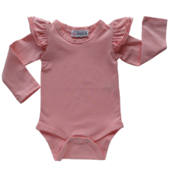 This Dusty Pink Flutter Bodysuit / Onesie pairs wonderfully with our Skirts and Pinnys.The always popular long sleeve style is perfect for our Australian climate, protecting your little one's from the sun.  We've chosen a perfect blend of 95% cotton and 5% elastane because of it's durability, comfort and quality feel.