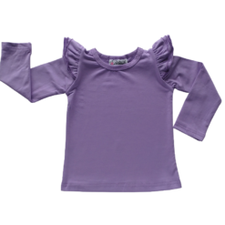 This Lavender Long Sleeve Flutter Top pairs wonderfully with our Skirts and Pinnys.The always popular long sleeve style is perfect for our Australian climate, protecting your little one's from the sun.  We've chosen a perfect blend of 95% cotton and 5% elastane because of it's durability, comfort and quality feel.