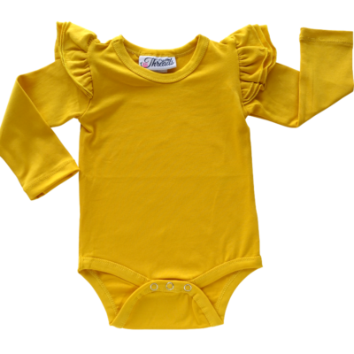 This Mustard Flutter Bodysuit / Onesie pairs wonderfully with our Skirts and Pinnys.The always popular long sleeve style is perfect for our Australian climate, protecting your little one's from the sun. We've chosen a perfect blend of 95% cotton and 5% elastane because of it's durability, comfort and quality feel.