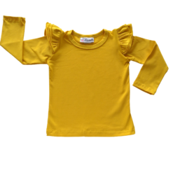 This Mustard Long Sleeve Flutter Top pairs wonderfully with our Skirts and Pinnys.The always popular long sleeve style is perfect for our Australian climate, protecting your little one's from the sun.  We've chosen a perfect blend of 95% cotton and 5% elastane because of it's durability, comfort and quality feel.