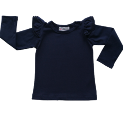 This Navy Long Sleeve Flutter Top pairs wonderfully with our Skirts and Pinnys.The always popular long sleeve style is perfect for our Australian climate, protecting your little one's from the sun.  We've chosen a perfect blend of 95% cotton and 5% elastane because of it's durability, comfort and quality feel.
