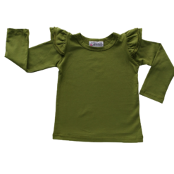 This Olive Long Sleeve Flutter Top pairs wonderfully with our Skirts and Pinnys.The always popular long sleeve style is perfect for our Australian climate, protecting your little one's from the sun.  We've chosen a perfect blend of 95% cotton and 5% elastane because of it's durability, comfort and quality feel.