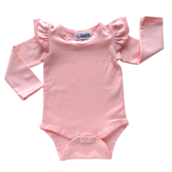 This Peachy Pink Flutter Bodysuit / Onesie pairs wonderfully with our Skirts and Pinnys.The always popular long sleeve style is perfect for our Australian climate, protecting your little one's from the sun.  We've chosen a perfect blend of 95% cotton and 5% elastane because of it's durability, comfort and quality feel.