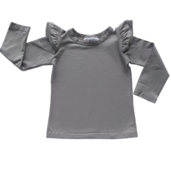 This Soft Grey Long Sleeve Flutter Top pairs wonderfully with our Skirts and Pinnys.The always popular long sleeve style is perfect for our Australian climate, protecting your little one's from the sun.  We've chosen a perfect blend of 95% cotton and 5% elastane because of it's durability, comfort and quality feel.