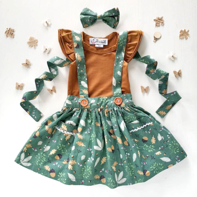 Woodland Green Suspender Skirt