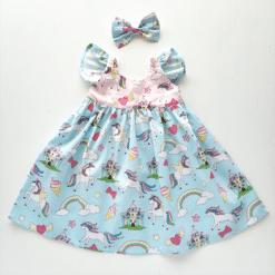 Blue Flutter Unicorn Dress