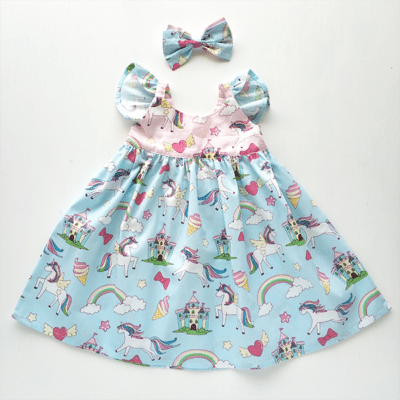 Blue Flutter Unicorn Dress