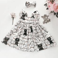 Meeeoooww Kitty Kitty Flutter Dress