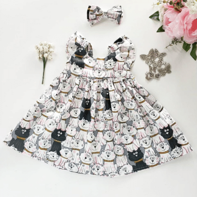 Meeeoooww Kitty Kitty Flutter Dress