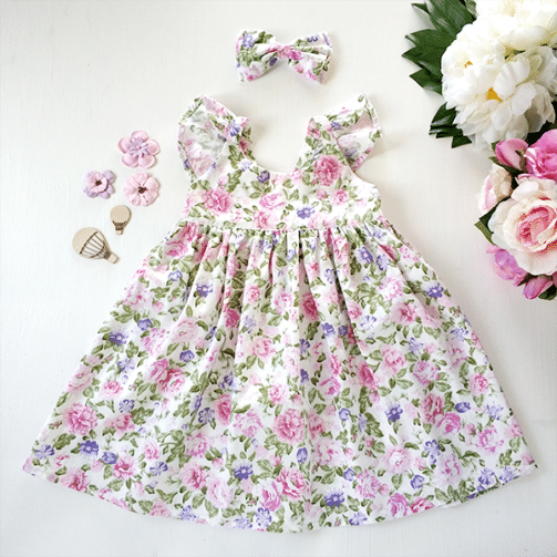 Atlanta Flutter Sleeve Dress floral Girls Dress Austsralia