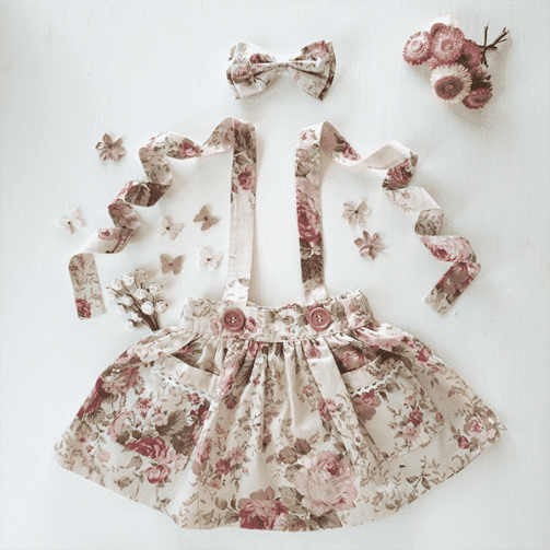 Vintage Rose Floral girls suspender skirt