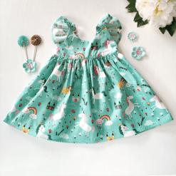 rainbow unicorn flutter dress