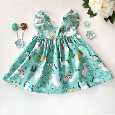 rainbow unicorn flutter dress