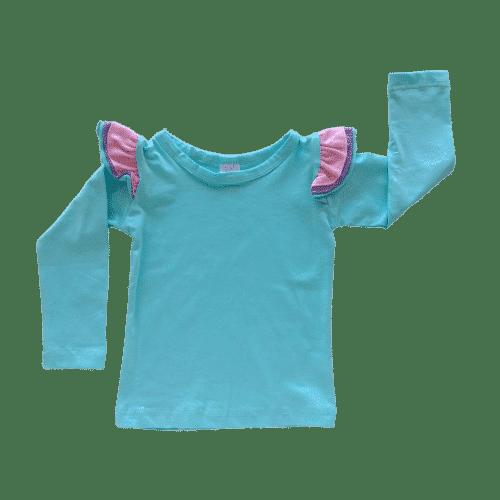 Light Blue Long sleeve Trifluttertop