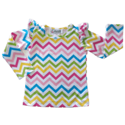Rainbow Chevron Long Sleeve Fluttertop