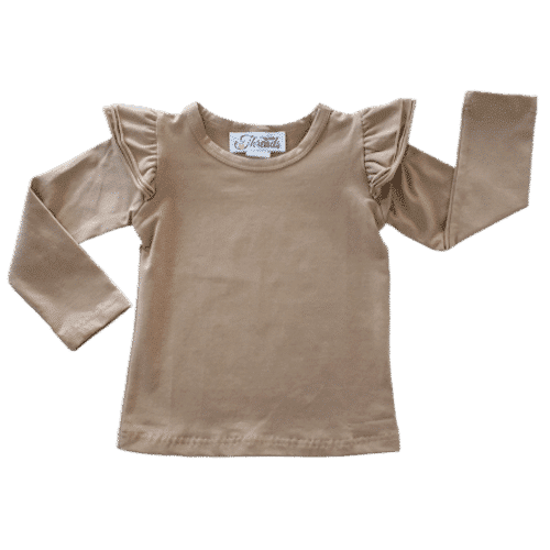 Tan long sleeve fluttertop