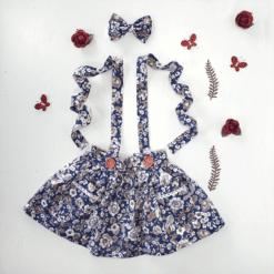 Rose City -Blue Suspender floral rose skirt