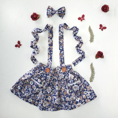 Rose City -Blue Suspender floral rose skirt