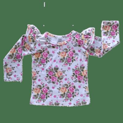 Vintage Blossom long sleeve flutter top