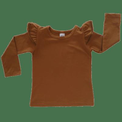 Saddle Brown long sleeve flutter top australia