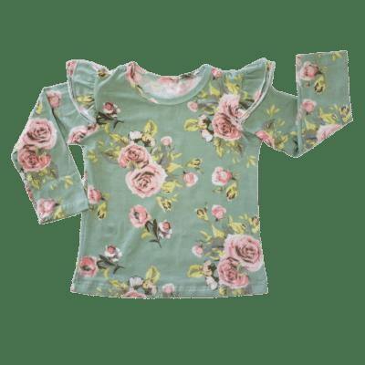 Green Floral Fluttertop
