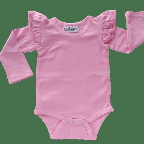 bubblegum pink long sleeve flutter
