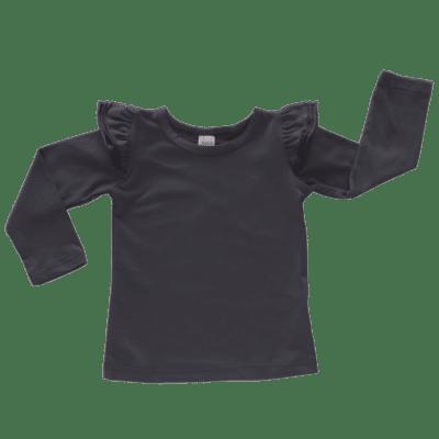 charcoal long sleeve flutter top australia