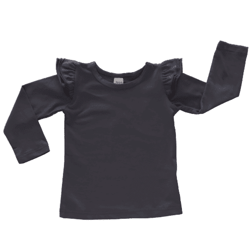 charcoal long sleeve flutter top australia
