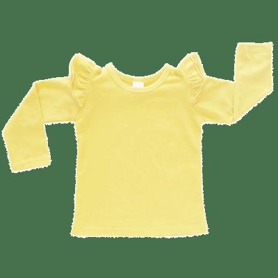 Lemon Yellow long sleeve flutter top australia