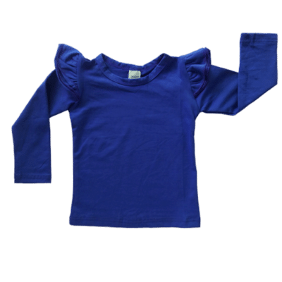 Royal Blue long sleeve flutter top australia