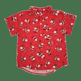 Matching Boys Red Christmas button Up shirt - Santas Here