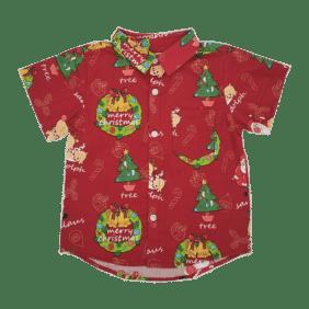 Matching Boys Red Christmas button Up shirt - Merry Christmas