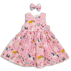 Pink Unicorn Party Dress front