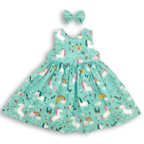 Teal Rainbow Unicorn Party Dress front